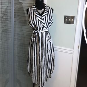 Black/White BONITA High-Low Sleeveless Dress sz XL